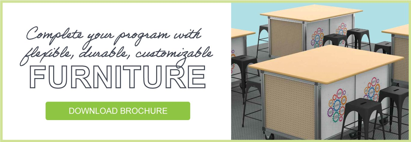 Complete your program with flexible, durable, customizable furniture – DOWNLOAD BROCHURE